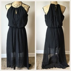 NEW Black High Low Dress S Sheer Overlay High Neck